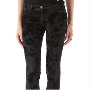 Current Elliot Black Velvet Floral TheAnkleSkinny